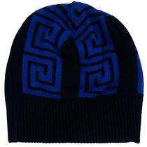Versace Vhb0106 002 Blue/black Knitted Beanie Hat Photo