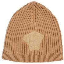 Versace Vhb0278 001 Mustard Knitted Beanie Wool/cashmere Blend Hat Photo