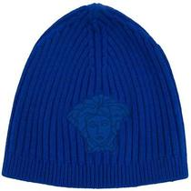 Versace Vhb0278 004 Blue Knitted Beanie Wool/cashmere Blend Hat Photo