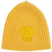 Versace Vhb0278 005 Yellow Knitted Beanie Wool/cashmere Blend Hat Photo