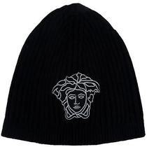 Versace Vhb0278 007 Black Knitted Beanie Wool/cashmere Blend Hat Photo