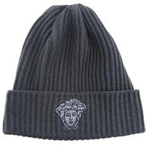 Versace Vhb0279 002 Grey Knitted Beanie Wool/cashmere Blend Hat Photo