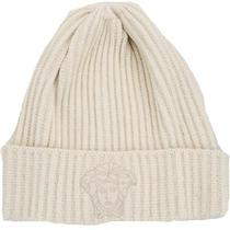 Versace Vhb0279 003 Ivory Knitted Beanie Wool/cashmere Blend Hat Photo