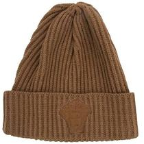 Versace Vhb0279 004 Camel Knitted Beanie Wool/cashmere Blend Hat Photo