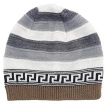 Versace Vhb0386 001 Gray/white Knitted Wool Blend Beanie Hat Photo