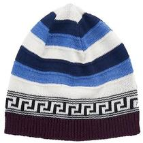 Versace Vhb0386 002 Blue/white Knitted Wool Blend Beanie Hat Photo