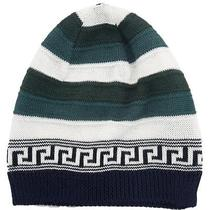 Versace Vhb0386 003 Green/white Knitted Wool Blend Beanie Hat Photo