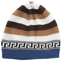 Versace Vhb0386 005 Brown/white Knitted Wool Blend Beanie Hat Photo