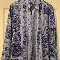 Versace Vintage Iconic & Rare Sexy Men Blue Shirt Floralia Barroco Size M Perfec Photo
