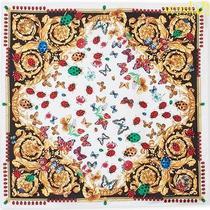 Versace White Ladybugs & Butterflies Baroque Silk 35