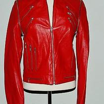 Versace Womans Leather Biker Motorcycle Jacket Red Photo