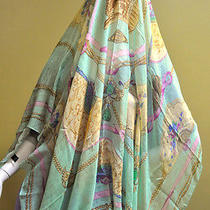 Versace Women Italy 320 Cashmere Modal Square Green Pink Floral Shawl Wrap  Nwt Photo