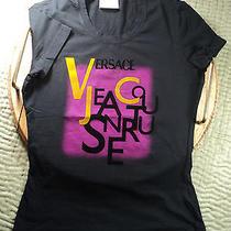 Versace  Women T Shirt Tea Black Authentic Jeans Couture Logo  Top Sz Xs Photo