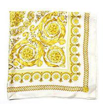Versace Womens Silk Floral Print Roll Hem Scarf Cream Yellow Size 33