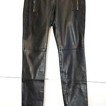 Versus Versace Black Leather and Lace Pants New Size 10 Eu 40 Photo