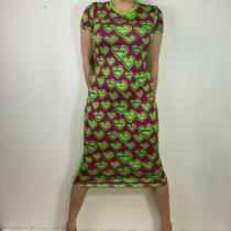 Versus Versace Size L 14 16 Pink Neon Green Heart Print Dress Midi T-Shirt Egirl Photo