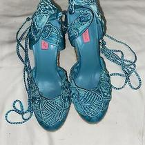 Very Beautiful Sexy Betsy Johnson 5 High Heel Platforms Size 10 Teal W/ Legties Photo