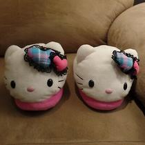 Very Cute Girls Hello Kitty Slippers by Sanrio Pink and White With Hearts Photo