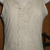 Very Fancy Beige Ruffled Pullover Cami/tank Top/transparent Lace Back Expresss Photo