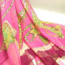 Very Good Quality 100% Silk Scarf Carriage Element Design Hand-Rolled Edges Photo