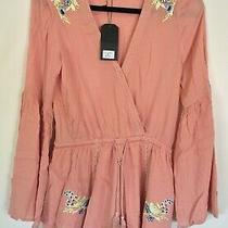 Very J Blush Medium Romper With Floral Embroidery Nwt Photo
