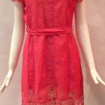 Very J Pink/blush Lace Overlay Belted Dress Sz M Photo