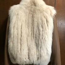 Very Nice Blush Fox/leather Bomber Jacket Ladies Small Photo