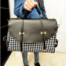 Very Nice European Preppy Style Houndstooth Design Handbag Shoulder Bag Wild Photo