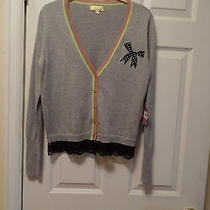 Very Nice Princess Vera Wang Gray Sweater With Black Lace Sz M Nwt Photo