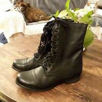 Very Nice Steve Madden Troopa Lace-Up Decor Combat Leather Boots Black Leather Photo