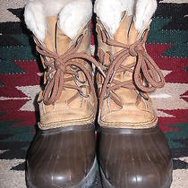 Very Nice Womens Sorel Tan & Brown Waterproof Leather Insulated Winter Boots 7m  Photo