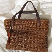 Very Nice Woven Fossil Bag Purse With Wood Key Gotta See Photo