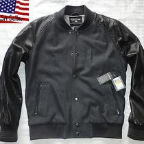 Very Rare Converse Black Canvas Leather Varsity College Jacket Bomber Baseball Photo