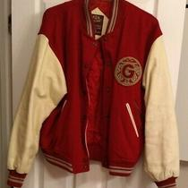 Very Rare Vintage Guess Jeans Red & Cream Varsity Leather Jacket Size S Photo