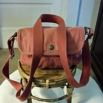 Very Very Gently Pre Owned Fossil Small Orange Canvas and Leather Crossbody Bag Photo