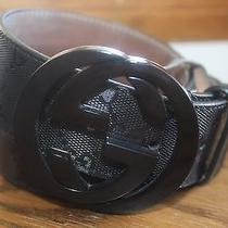 Vg Authentic Gucci Black Gg Imprime Belt With Interlock G Buckle 38