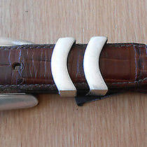 Vg Awesome Brighton Croc Embossed Brown Leather  Belt 42