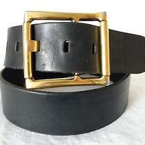 Vg Fabulous Genuine Dolce & Gabbana Large Buckle Black Contour Belt - 36