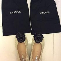 Vgc Authentic Chanel Flats Cream Quilted Leather Black Camilla Size 37.5 Photo