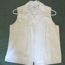Vgc Gap Woman's Sleeveless White 100% Crisp Cotton Blouse / Top -- Sz. Medium M Photo