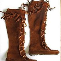 Vgc Minnetonka Brown Suede Leather Calf Indian Moccasin Fringe Boots Round Toe 5 Photo