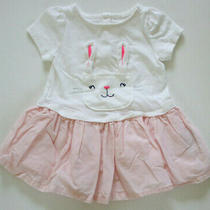 Vguc Baby Girl's 3-6 Months Baby Gap White Pink Bunny Dress Photo
