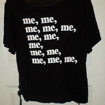 Vguc Blush Juniors/ladies Black Me Me Me Side Tie S/s Tee Sz L Photo