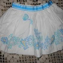 Vguc Lilly Pulitzer White Aqua Embroidered Sea Shell Horse Skirt Girls 4 Photo