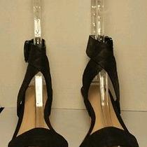 Via Spiga 6.5 M Wedge Strappy Shoes Black Leather Photo