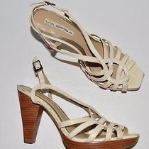Via Spiga 8 M Light Beige Stone Snake Print Leather Platform Sandals Photo