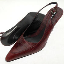 Via Spiga All Leather Pointy Toe Croc Embossed Slingback Pumps Made in Italy 10m Photo
