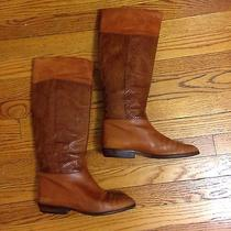 Via Spiga Beige Camel Brown Leather Snake Skin Cowboy Riding Equestrian Boots 8 Photo