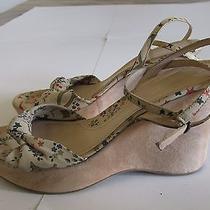 Via Spiga Beige Suede Wedge Floral Sandals Women's Sz 9.5 M Photo