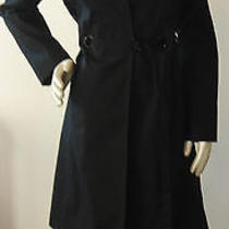 Via Spiga Black Cotton Belted Snap Front Collared Shoulder Pads Trench Jacket S Photo